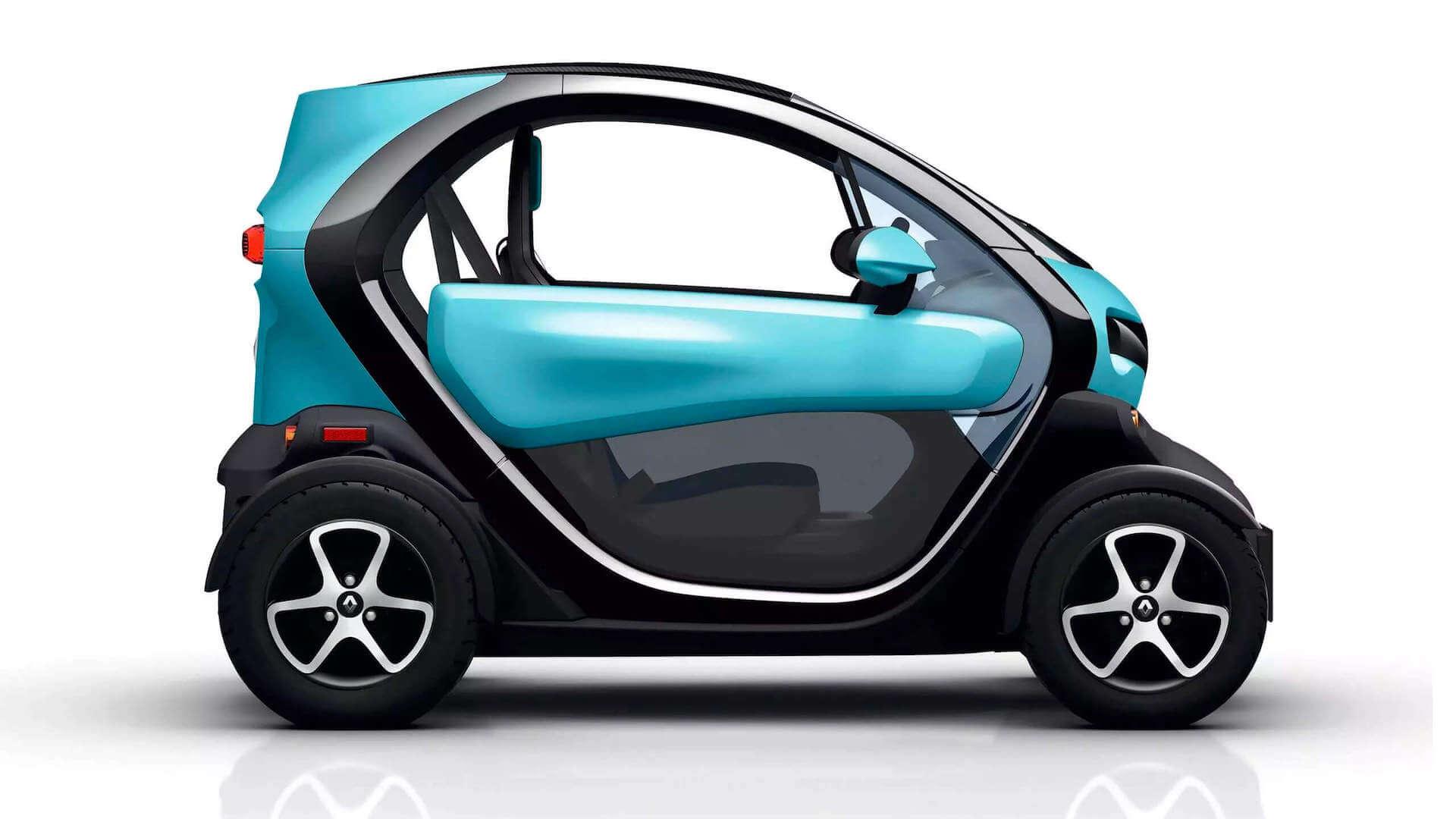 Seitenansicht vom türkisfarbenen Auto - Renault Twizy - Renault Ahrens Hannover