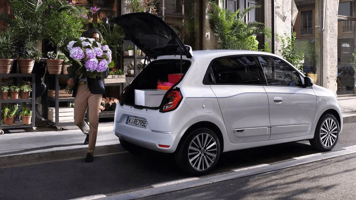 Hechansicht - Mann lädt Lila Hortensien/Blume ins Auto - Renault Twingo Electric - Renault Ahrens Hannover
